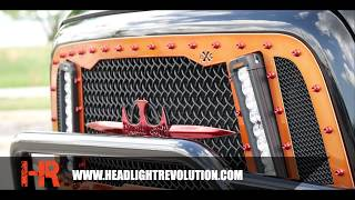 """This Ram truck has been wildly customized with all the Headlight Revolution lighting upgrades found here:https://headlightrevolution.com/vehicles/dodge-ram/2003-2017-dodge-ram/LED Off Road Lighting from Vision XRoyalty Core GrilleHID Conversion Kits from GTR LightingLED Interior LIghtingCustomized """"Headlight Workshop"""" HeadlightsIf you want your truck to look as big and bad as this one contact us for details - we'd love to supply the lighting for your next big truck build!"""