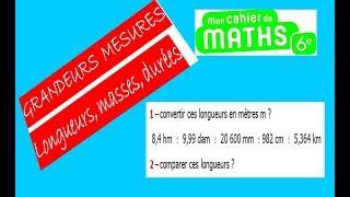 Maths 6ème - Longueurs, Masses, Durées Exercice 1