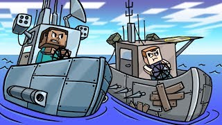 Minecraft   MOST SECURE BOAT FORT - Boat Wars! (Turrets, Armor, Forts)