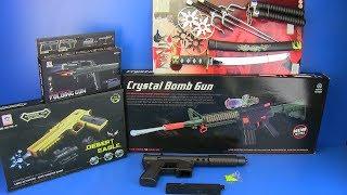Video Box of Toys - Guns Toys !!! Crystal Bomb Gun  I Folding gun ,NINJA Weapons MP3, 3GP, MP4, WEBM, AVI, FLV Oktober 2018