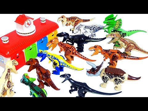 Learn Colors & Dinosaur names with Jurassic world lego dinosaur's head toy 쥬라기월드 공룡 장난감