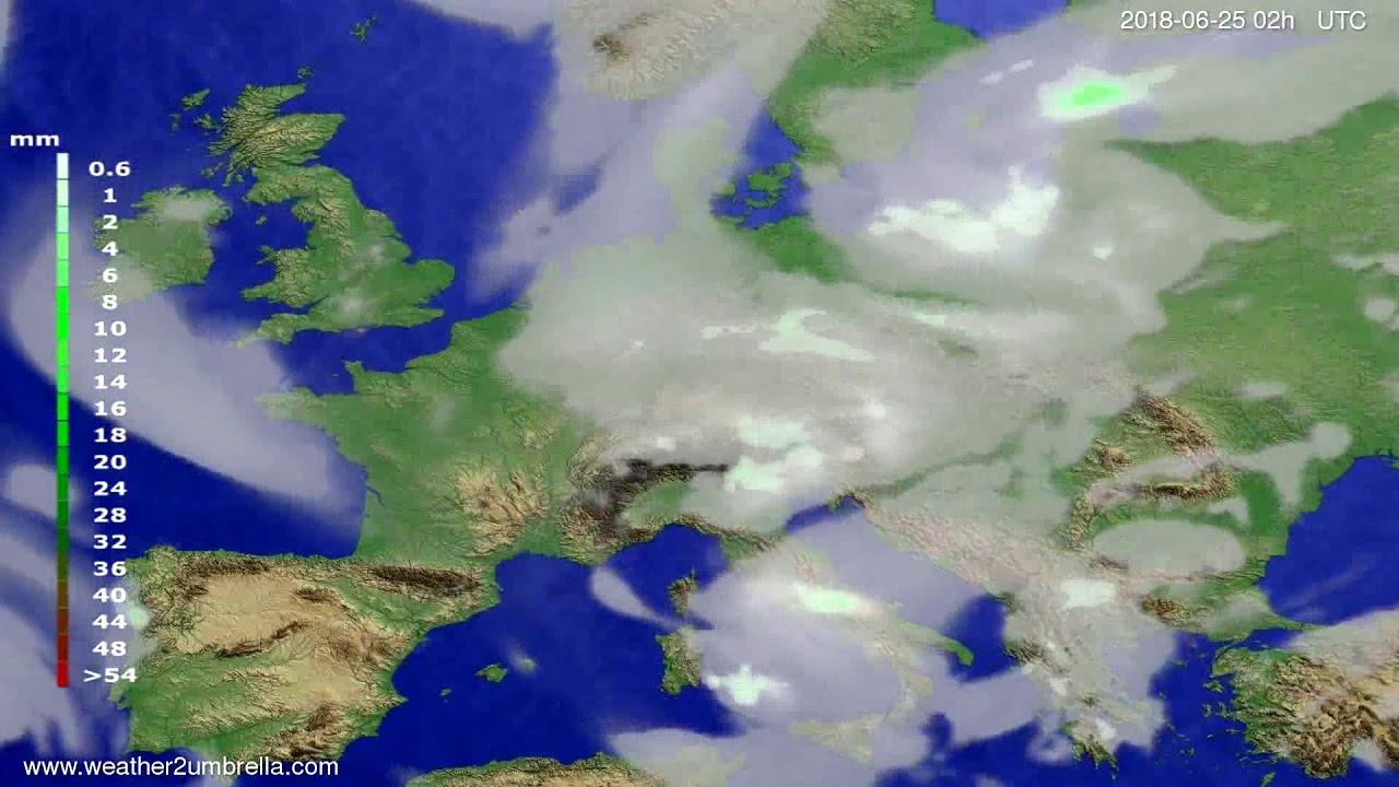 Precipitation forecast Europe 2018-06-21