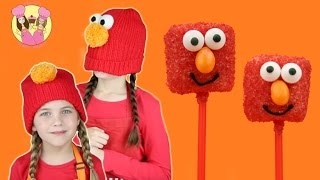 ELMO MARSHMALLOW POPS - Sesame Street Party Idea -how to baking  by Charli's crafty kitchen