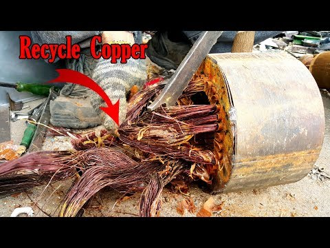 How to recycle motor remove copper winding motor core scrap the copper out of an electric motor.