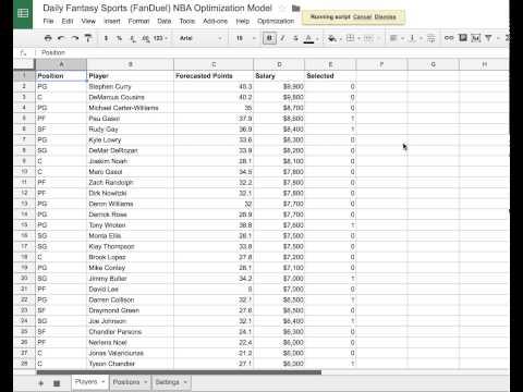 Daily Fantasy Sports (FanDuel) NBA Optimization Model