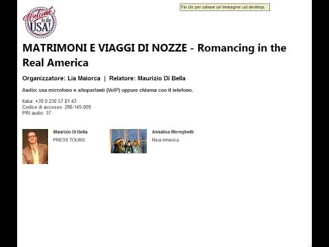 Video MATRIMONI E VIAGGI DI NOZZE Romancing in the Real America (25-9-2017)