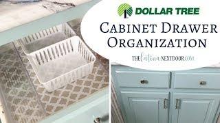 Dollar Tree Cabinet Organization; DIY and Decor Challenge
