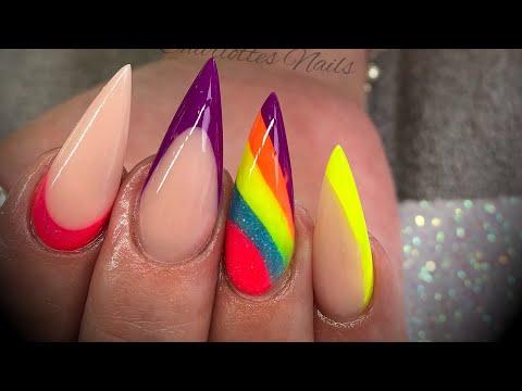 Acrylic nails - neon colour blocking design
