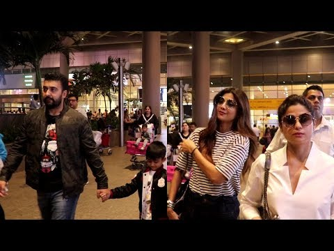 Shilpa Shetty Kundra With Family and Sister Shamita Spotted at Airport