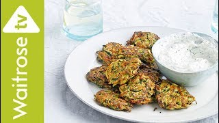 These tasty fritters are the perfect starter or light lunch.  See the full recipe  http://www.waitrose.com/content/waitrose/en/home/recipes/recipe_directory/s/spiced-courgetteandcarrotfritterswithraita.html?utm_source=youtube&utm_medium=social&utm_campaign=recipe&utm_content=cougettecarrotfrittersTwitter  http://www.twitter.com/waitroseFacebook  http://www.facebook.com/waitroseInstagram  http://www.instagram.com/waitrose Pinterest  http://www.pinterest.com/waitroseMore great recipes, ideas and groceries  http://www.waitrose.com