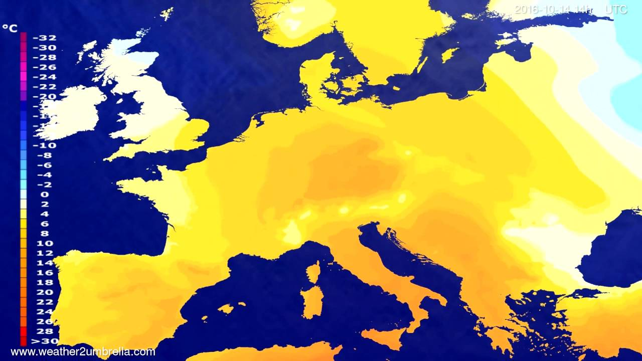 Temperature forecast Europe 2016-10-10