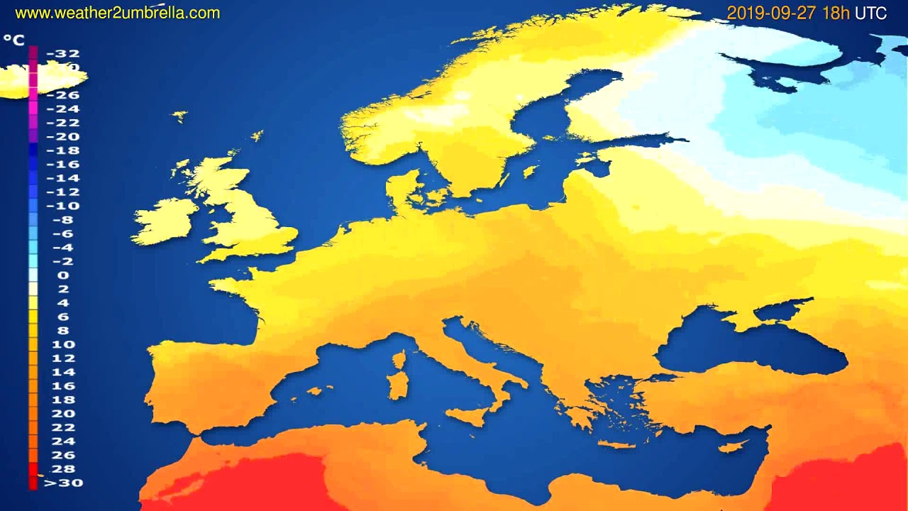 Temperature forecast Europe // modelrun: 00h UTC 2019-09-25