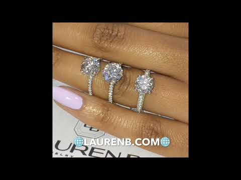 Lauren B Round Diamond Pave Engagement Rings