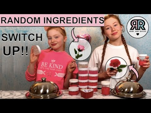 ADDING MYSTERY RANDOM INGREDIENTS INTO SLIME SWITCH UP CHALLENGE  VALENTINES ED  RUBY AND RAYLEE