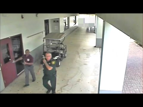 Surveillance video shows armed deputy standing outside during Florida school shooting (видео)