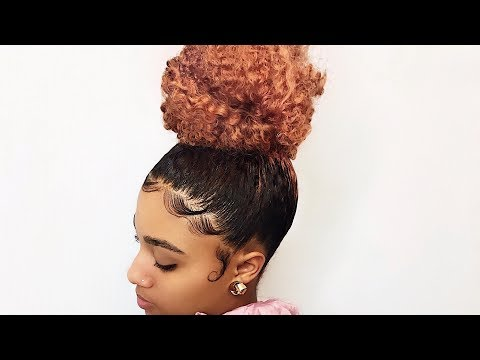 How To: High Bun and Slayed Edges -- Trimming my Daughter's Natural Hair (видео)