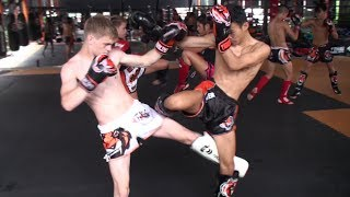A few clips of members of the Belarus national Muay Thai team sparring with Petpayak, one of our young Thai fighters.