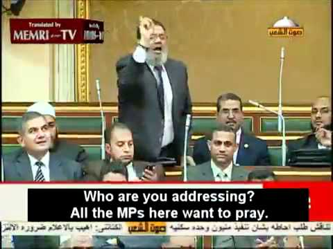 Muslim prayers in the parliament - Egyptian Salafi disturbs the Parliament's work.mp4