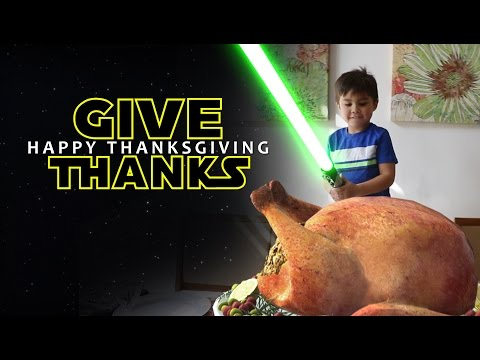 Action Movie Kid Carves His First Thanksgiving Turkey With a Special Effects Light