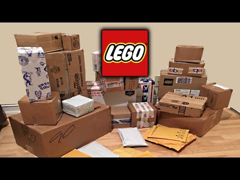 Boxes of LEGO sets that were ordered on eBay