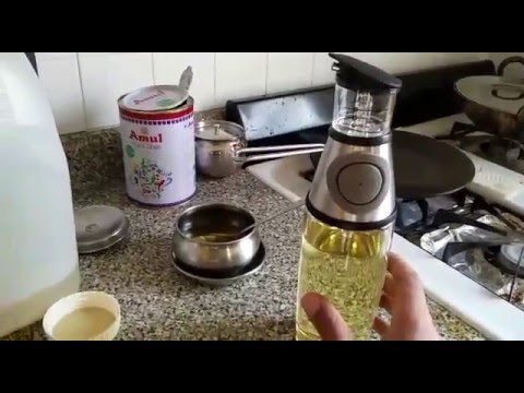 Review - Non Drip Press & Measure Stainless Steel Glass Oil Vinegar Bottle