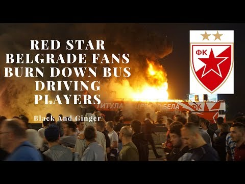 Red Star Belgrade Fans Burn Down Bus While Celebrating 2017/2018 Title Victory With Players (видео)
