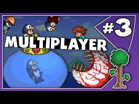 SLIME & EYE OF CTHULHU! - TERRARIA MASS MULTIPLAYER! // Episode 3