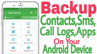 "How to Backup and Restore Contacts , Messages, call logs, Apps in Android Super Backup:https://play.google.com/store/apps/details?id=com.idea.backup.smscontacts&hl=enhello friends today in this video i m going to show you how we can back up everything on our android device.We can backup contacts,backup apps,backup sms messages,backup call logs and also backup photos on our android device.JUST FOLLOW MY STEPS IN THE VIDEO.Please Hit the LIKE button if you Like this Video, OR  👉PLEASE SUBSCRIBE MY   CHANNEL :  https://goo.gl/gWcJQM  to get more new videos✔👉Follow me on Facebook: https://www.facebook.com/techjaspreet   ✔👉Follow me on Google+https://plus.google.com/+TechJaspreet  ✔ Thnku✔music from :https://www.youtube.com/user/NoCopyrightSoundsDISCLAIMER: This Channel Does Not Promotes Any illegal content , all contents provided by This Channel is meant for EDUCATIONAL purpose only .Copyright Disclaimer Under Section 107 of the Copyright Act 1976, allowance is made for ""fair use"" for purposes such as criticism, comment, news reporting, teaching, scholarship, and research. Fair use is a use permitted by copyright statute that might otherwise be infringing. Non-profit, educational or personal use tips the balance in favor of fair use."