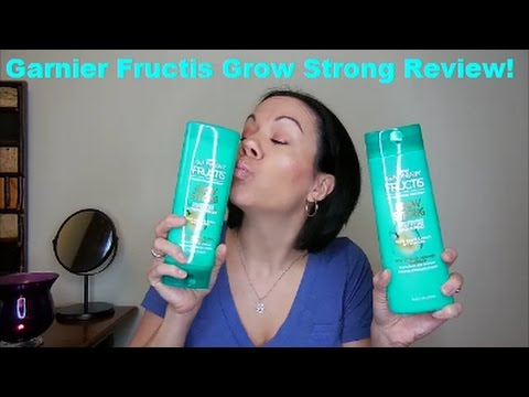 Garnier Fructis Grow Strong Shampoo and Conditioner Review!!!