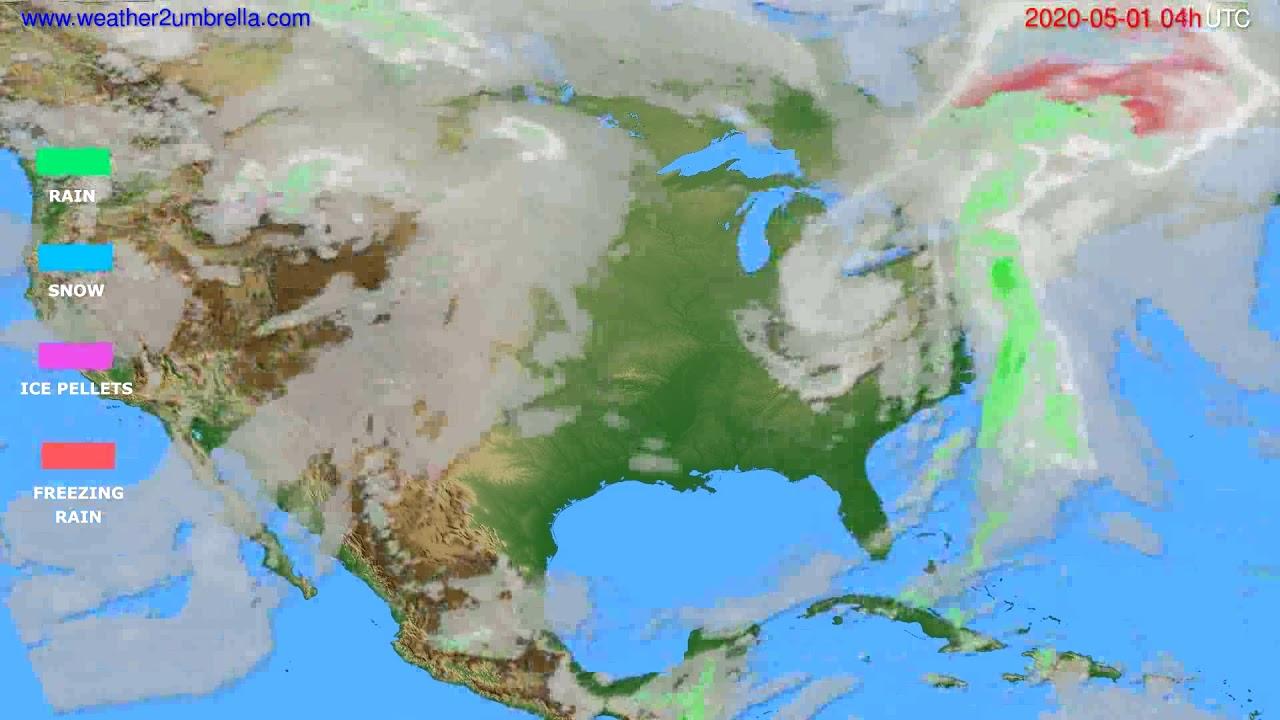 Precipitation forecast USA & Canada // modelrun: 12h UTC 2020-04-30