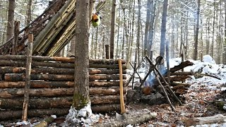Video Solo Bushcraft Camp. 2 Nights in the Snow - Natural Shelter, Minimal Gear. MP3, 3GP, MP4, WEBM, AVI, FLV Januari 2019