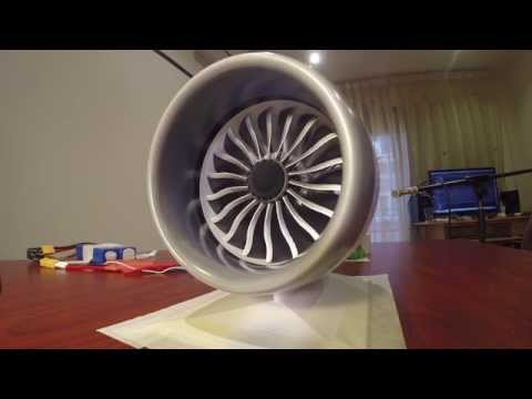 3d printed mini 787 engine with working reverse thrust