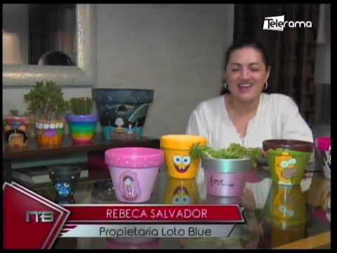 Emprendimiento Guayaquileño Loto Blue macetas de barro pintadas a mano