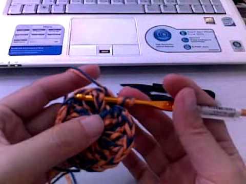 ถักหมวก - อุปกรณ์ : ไหมลิลลี่สีส้ม 1 ม้วน, ไหมอีเกิ้ลสีน้ำเงิน 1 ม้วน, เข็มโครเชต์สีทอง 4.5 mm., กรรไกร,...