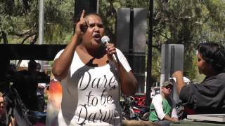 Stacia talks to the crowd at Todd Mall about standing up against the Racist Laws and Racist Policing in Alice Springs.