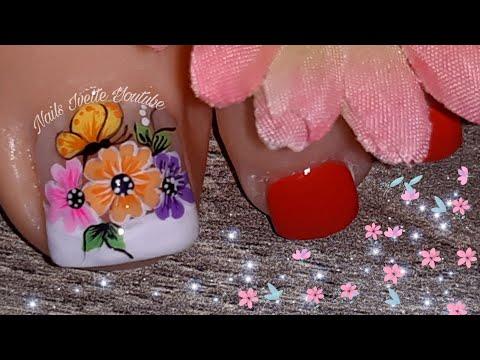 Decoracion de uñas - Decoración de uñas flores y mariposas para pie /Uñas decoradas para pié /Diseño de uñas para pié