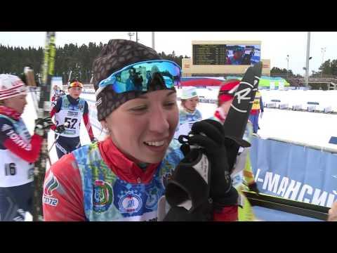 Ольга Репницына после победы в скиатлоне на чемпионате России