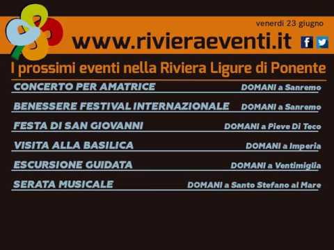 GLI APPUNTAMENTI DI RIVIERA EVENTI DI VENERDI 24 GIUGNO 2017