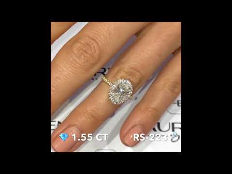 1.55 ct Oval Diamond Double Edge Halo Engagement RIng