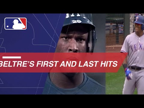 Adrian Beltre's first and last Major League hits