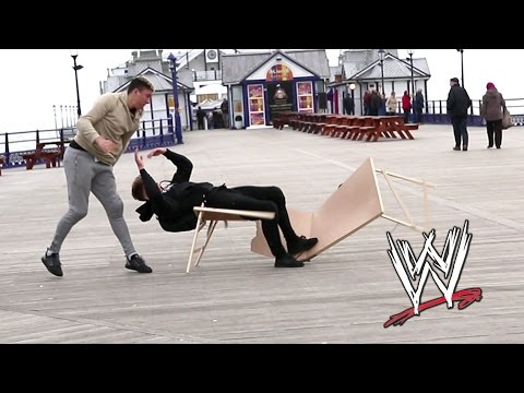 WWE moves in public | Tables Edition