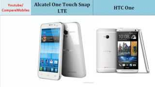 Alcatel One Touch Snap LTE comp. HTC One, full comparison : One Touch Snap LTE Vs One, The phones compared in terms of: Dual-core, 1.4 GHz, 480 x 854 pixels, 4.65 inches, Quad-core, 1.7 GHz Krait 300, 1080 x 1920 pixels, 4.7 inches, Ram, LTE, Screen Resolution, Battery Life, Data, 4G and such...