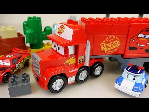 Lego Block Cars truck and Robocar Poli car toys play