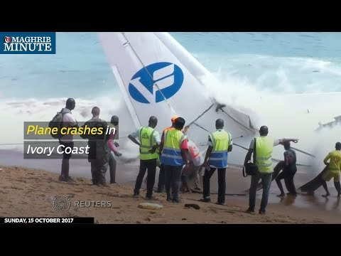 Four people have been killed and six others injured after a cargo plane crashed into the sea near the airport in Ivory Coast