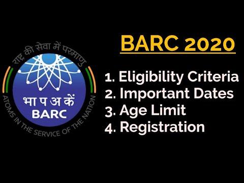 BARC 2020|Notification|Important dates|Eligibility criteria|Age limit|Registration|Apply Online