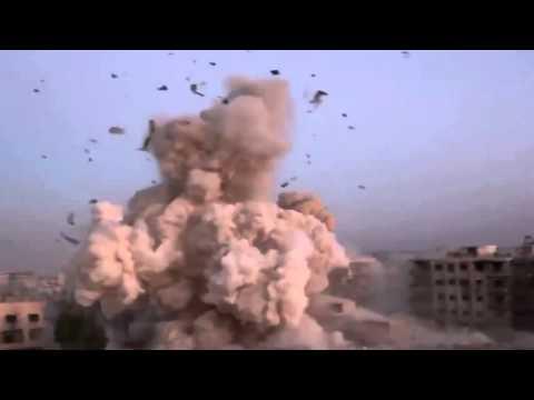 Сирия  Момент попадания снаряда по позициям  боевиков - DomaVideo.Ru