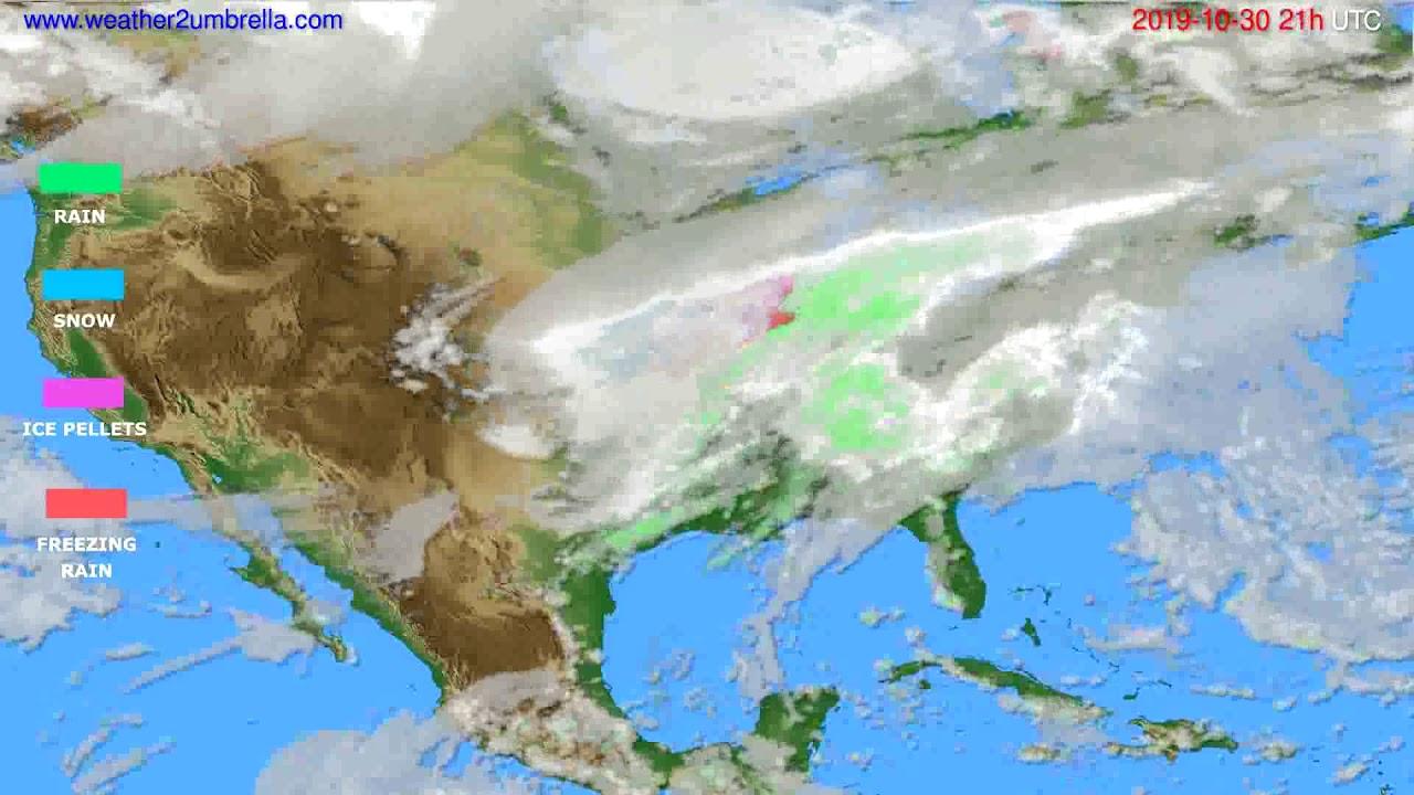 Precipitation forecast USA & Canada // modelrun: 00h UTC 2019-10-29