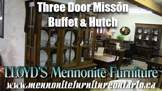 Mennonite Mission Style Three Door Buffet & Hutch