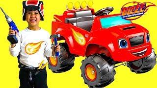 Unboxing Blaze and the Monster Machine Battery-Powered Ride On Monster Truck 6V Test Drive TBTFUNTV