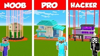 Minecraft NOOB vs PRO vs HACKER: SAFEST HOUSE DEFENSE CHALLENGE in Minecraft / Animation